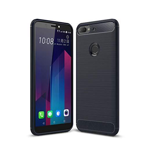 Ycloud Flexible Hülle für HTC Desire 12 Plus/HTC Desire 12+ Smartphone, Leichte TPU Silikon Stoßfest Schutzhülle Rutschschutz Kratzfest Rückseite Case Kohlefaser Design (Navy Blau)