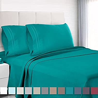 Premium King size Sheets Set - Teal Turquoise Hotel Luxury 4-Piece Bed Set, Extra Deep Pocket Special Super Fit Fitted Sheet, Best Quality Microfiber Linen Soft & Durable Design + Better Sleep Guide