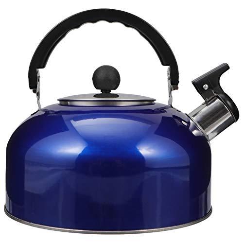 Hemoton 3L Tetera con Silbato de Acero Inoxidable Agua Caliente Tetera Hervidor de Agua Moderno Recipiente con Mango Ergonómico Seguro para El Hogar Estufa de Gas Azul