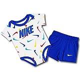 (Nike)ナイキ ベビー ロンパース & パンツ 2点セット Baby Romper and Shorts Set (白青赤, 9M (6~9ヶ月頃 68~74cm)) [並行輸入品]