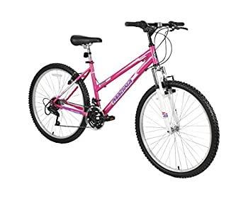 Dynacraft Magna Front Shock Mountain Bike Womens 26 Inch Wheels with 18 Speed Grip Shiteres and Dual Hand Brakes In Pink
