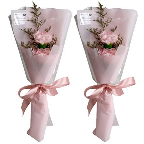 PRETYZOOM 2 Piezas de Jabón de Pétalos de Flores Romántico Ramo de Rosas Falsas Simulación Baño de Flores Jabón de Lavado de Manos Regalo para Fiesta de Cumpleaños Rosa
