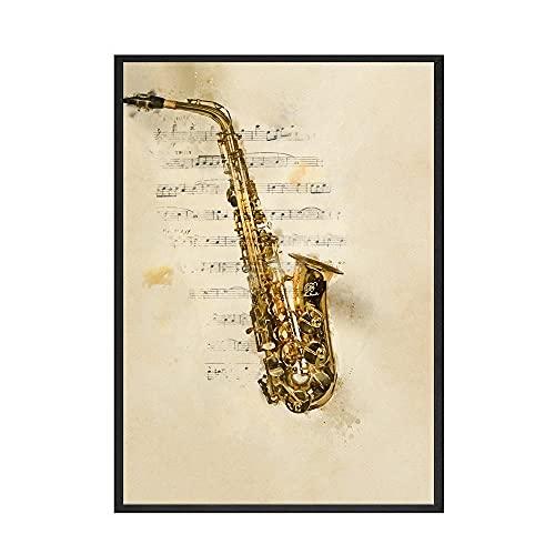 SGYY Cartel para Instrumento Musical Lienzo de Estilo Vintage Impreso para Piano Pintura artística Mural Cuaderno de música Decoración nórdica Foto 40X50cm Lienzo 3