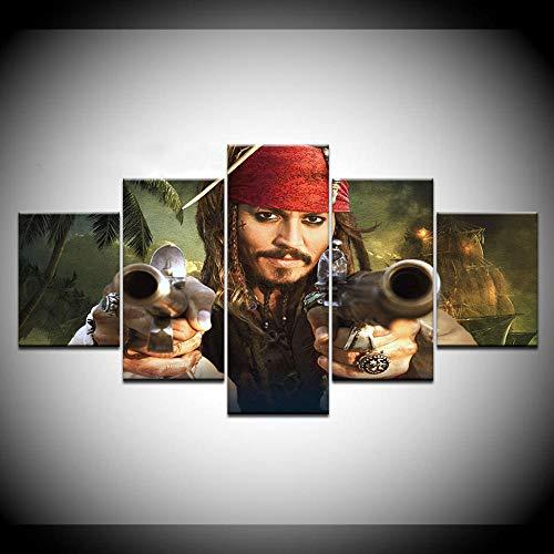 Siluyu Leinwand Malerei Pirates of The Caribbean 5 Stücke Wandkunst Malerei Modulare Tapeten Poster Print Für Wohnzimmer Wohnkultur Gerahmt