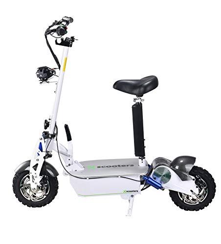 E Scooter 2000W Falten E Roller 60V Elektrofahrrad mit Sitz Max Geschwindigkeit 45km/h Metro Scooter Chaos Mars Scooter Elektroroller Erwachsene (Weiß)
