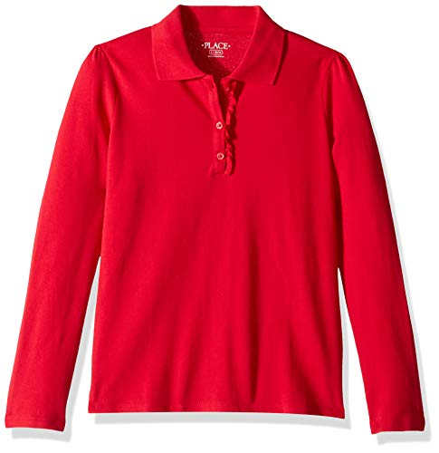 The Children's Place girls Uniform Long Sleeve Ruffle Pique Polo Shirt, Ruby, Small US