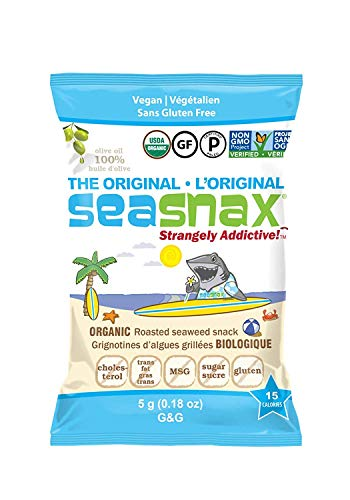 SeaSnax Organic Roasted Seaweed Snack Original, 0.18 oz (Pack of 12)