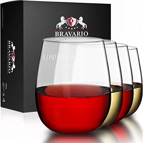 Bravario Unbreakable Stemless Plastic Wine Glasses   Shatterproof 100% Tritan   Dishwasher-Safe   BPA-free   Awesome for Indoor Outdoor   16 oz, Set of 4