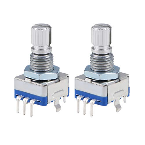 uxcell 360 Degree Rotary Encoder Code Switch Digital Potentiometer EC11 7 Pins 15mm Shaft 2pcs