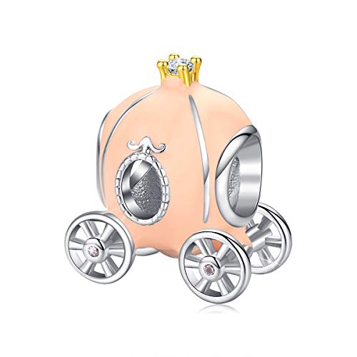Ciondolo a forma di carrozza in argento Sterling 925 smaltato beige, compatibile con braccialetti Pandora