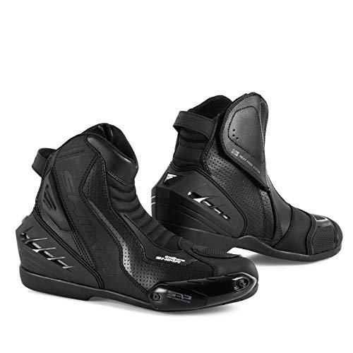 SHIMA SX-6 Vented, Sport Leder Motorradschuhe Motorradstiefel Motorrad Stiefel für Herren, Schwarz (40-46, Schwarz), Größe 44