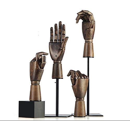 TYPING Madera Articulada Maniquí de Mano Soporte Juntas movibles Joyería Exhibición de Estante de Reloj Modelo de Mano protésica Escaparate de la Tienda,6