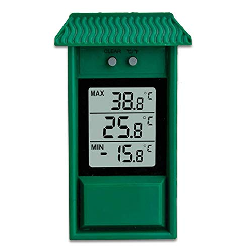 Termometro esterno giardino digitale da parete capanna - Termometro Mini/Maxi - Facile da fissare - Lettura immediata - Memoria dei minimi e massimi - IPX2 - Per giardino, serra - 13x8CM - Verde