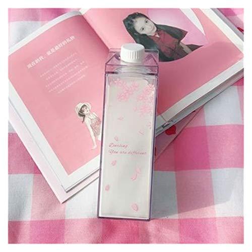JSJJAWS Taza de Agua Creativo Lindo plástico Claro de Leche cartón Botella de Agua Moda Fresa Transparente Leche Caja de Jugo Taza de Agua para niñas (Capacity : 500ml, Color : 04)