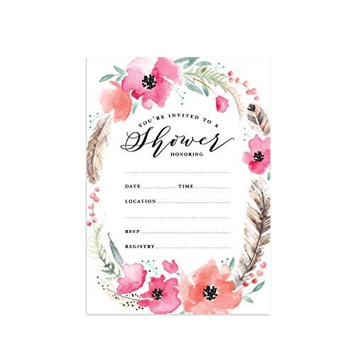 Boho Spirit Fill in The Blank Shower Invitation / 25 Bridal Shower Invitations and Envelopes/Boho Baby Shower Invitation