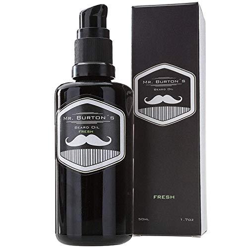 Bartöl - Mr. Burton´s Beard Oil - FRESH - 50 ml Bart Öl für die Bartpflege - 100% natürliche Inhaltsstoffe - Premium Qualität - Made in Germany