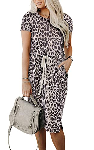 PRETTYGARDEN Ladies Basic Crewneck Belted Office Dress with Pockets Solid Color Short Sleeve Party Slim Dress