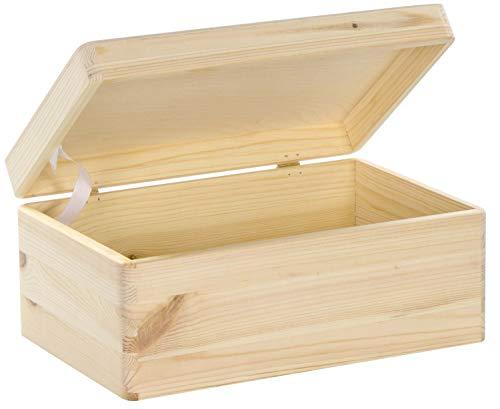 LAUBLUST Holzkiste mit Deckel - 30x20x14cm, Natur, FSC® | Allzweck-Kiste aus Holz - Aufbewahrungskiste | Geschenk-Verpackung | Deko-Kasten zum Basteln | Spielzeug-Truhe | Erinnerungsbox