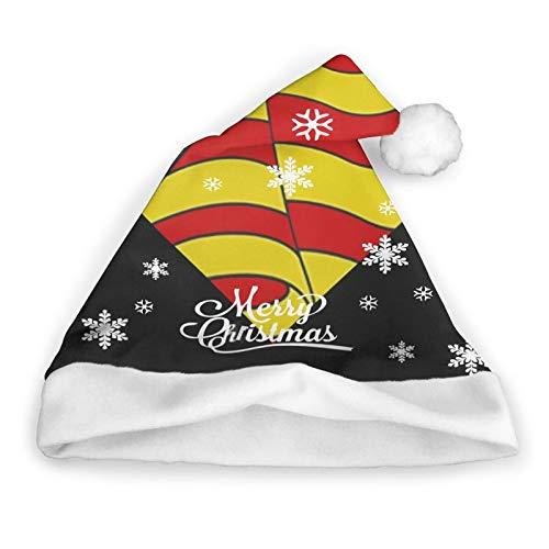 ZVEZVI Gorro de Pap Noel con la Bandera de Catalua, Unisex, Ribete de Piel Blanca, Gorro de Navidad de Calidad, Gorro de Pap Noel