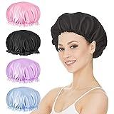 Keeygo Satin Bonnet Silk Sleep Cap Hair Wrap 4 Pcs Elastic Lace Band Hair Bonnet for Sleeping Curl Hair Protection Maintain Moisture Night Cap for Facial Mask and Beauty Care
