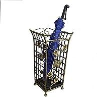 SHSM 傘スタンド傘ラックメタル、レトロなパターン傘バケツ、キュースティックシャフト杖室内装飾収納ラック 自立ホルダーヌル/Bronze