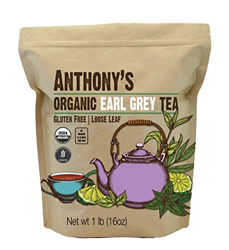Anthony's Organic Earl Grey Loose Leaf Tea 1 lb, Gluten Free, Non GMO & Non Irradiated