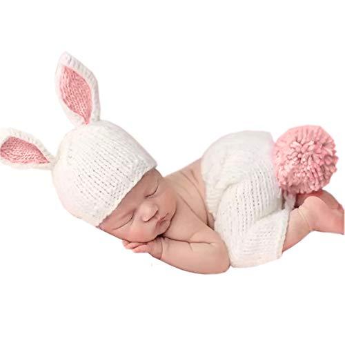 Amorar Bebé Disfraz de Fotografía de Punto Ganchillo Traje de Conejito con Muñeca para Recién Nacido