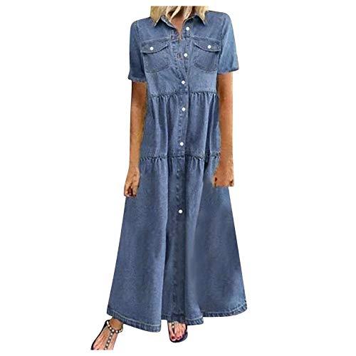 Women's Vintage Short Sleeve Blue Jean Shirt Dress Button Up Shift Denim Dress (L, Dark Blue/Maxi Dress)
