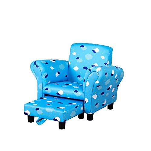 HOMCOM Kids Children Armchair Mini Sofa Wood Frame w/Footrest Anti-Slip Legs High Back Arms Bedroom Playroom Furniture Cute Cloud Star Blue