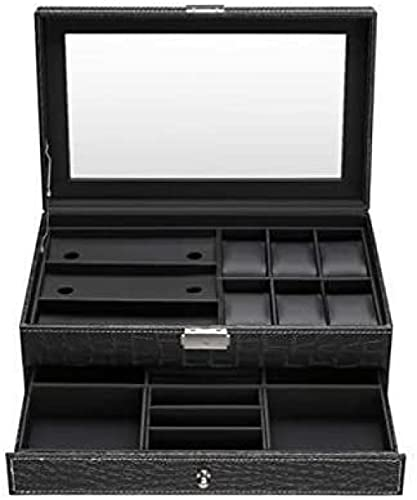 Caja de reloj de doble capa de piel sintética organizador de lujo con tapa de cristal enmarcada, elegante y resistente bloqueo
