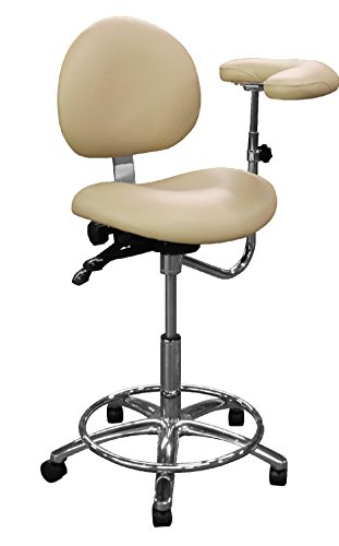 Dentists Unite 310-17 Professional Dental Stool with Adjustable Body Support Arm, Assistant Series, Ergonomic, Bone