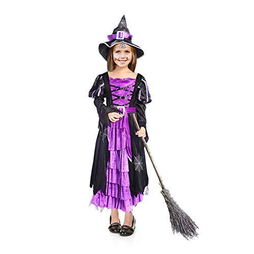 Thinkmax Costume da Strega Bambine con Cappello da Strega per Halloween (XS 3-4)