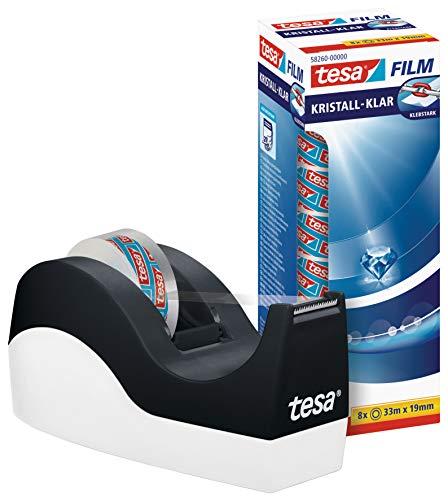 tesa Easy Cut Orca Tischabroller (rutschfest, einfache Handhabung, sauberer Schnitt mit 8 Rollen tesafilm kristall-klar 33m:19mm)
