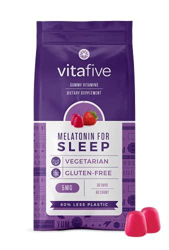 Vitafive Extra Strength Melatonin Gummies - Natural Sleep Aid Gummy Vitamins - Eco Friendly, Natural Strawberry Flavor, Vegetarian, Gluten Free, Allergen Free, Kosher, Halal - 60 Count