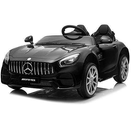 Kidzone 12V 45W 2 Seater Licensed Mercedes-Benz AMG GT Kids Ride On Car Electric Powered Vehicle High/Low Speed W/2.4G Remote Control, Horn, Radio, USB Port, AUX, Spring Suspension, Black