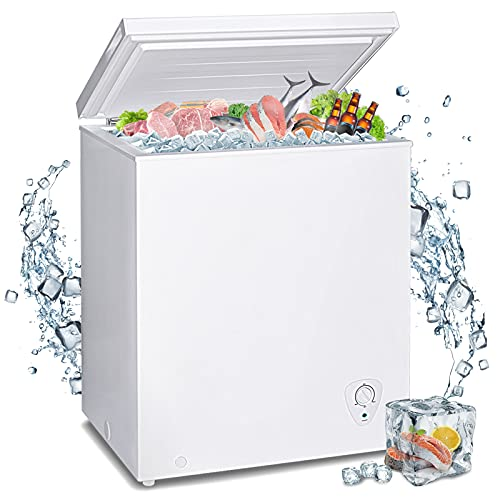 Techomey 3.5 CU. FT Small Chest Freezer, Deep Freezer Freestanding, Quiet Compact Freezer, with Adjustable Thermostat Control&Removable Wire Basket, White