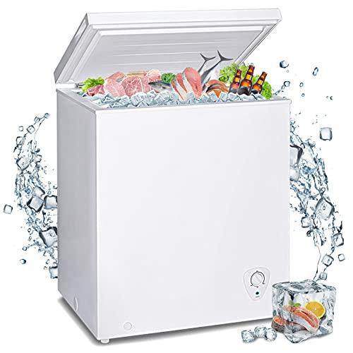 Techomey Deep Chest Freezer 3.5 CU. FT, Small Freezer Chest Freestanding, Quiet Compact Freezer,...