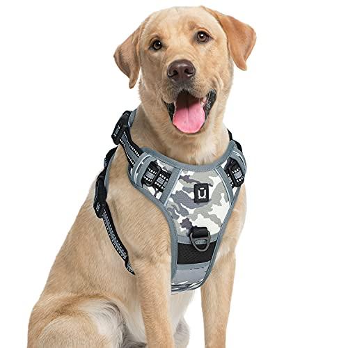 Waldseemuller Hundegeschirr No Pull, mit 4 Schnallen, Verstellbarer weich gepolsterter Haustierweste, reflektierendem Hundegeschirr mit einfach zu bedienendem Griff, für kleine bis große Hunde