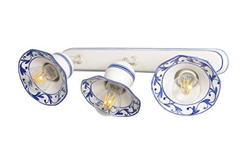 VANNI LAMPADARI - Lampada Parete art.002/414 e soffitto orientabile tipo spot a n.3 luci In Ceramica Decorata A Mano Disponibile In 5 Finiture