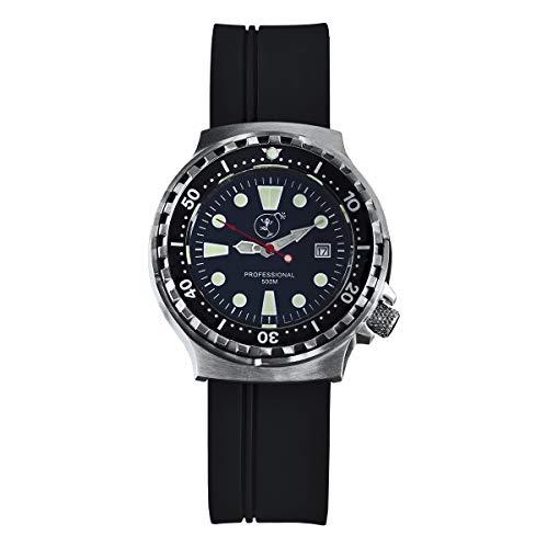 Damen Uhr Taucheruhr   Edelstahl   lumineszierend   Professional 500 m