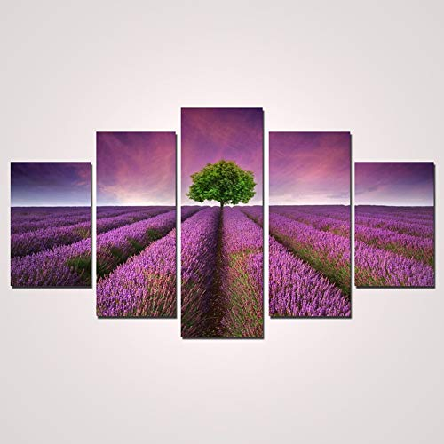 5 Canvas paintings Home Decor Living Room Wall Pictures Beautiful Lavender Flower Art Painting HD Printed Canvas Poster Frameless