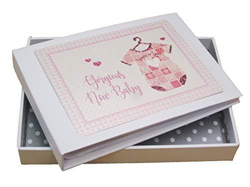 Wit Katoen Kaarten Prachtige Nieuwe Baby Mini Foto Album Roze Vest (PVB1T)