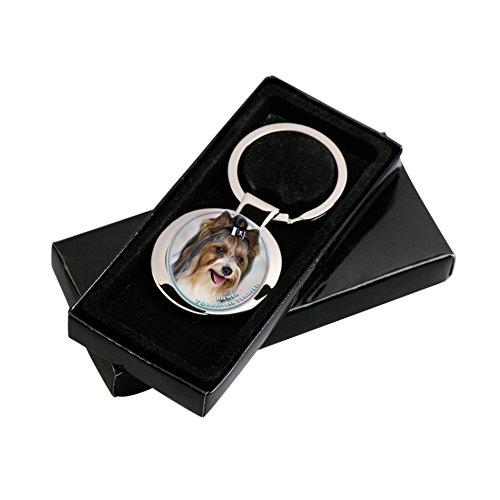 biewer Yorkshire Terrier llavero en paquete de regalo.