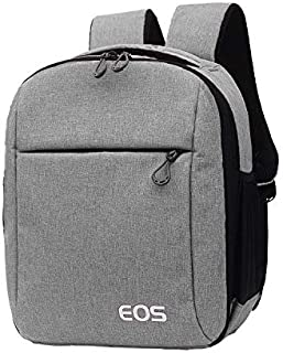 COOPIC BP-08 GREY Canvas Camera Backpack 10.62inch x 6.69inch x 13.38inch Waterproof Bag for DSLR SLR Camera Speedlite Fla...