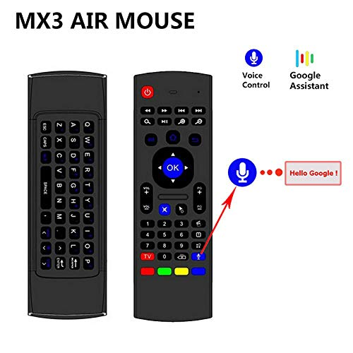 MX3 Air Mouse Smart Voice Remote Control 2.4G RF inalámbrico Teclado y Mouse Combo Compatible con Android TV Box, Smart TV, PC, HTPC, Windows, Mac OS