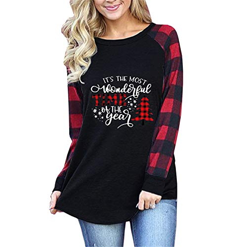 BETTE BOUTIK Women's Plaid Tees Casual Long Sleeve Merry Christmas Printed Graphic Blouse Tops T Shirt Letter Black Small