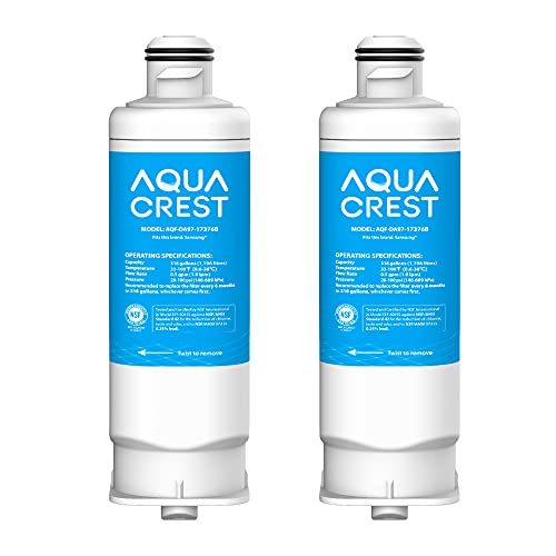 AQUA CREST DA97-17376B Refrigerator Water Filter, Compatible with Samsung DA97-17376B, HAF-QIN/EXP, DA97-08006C, HAF-QIN, RF23M8070SG, RF23M8070SR, RF23M8090SG, RF23M8090SR (Pack of 2)