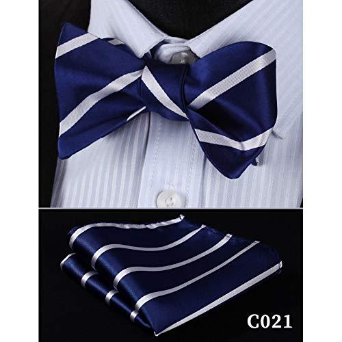 CDBGPZLD Fliege mit Einstecktuch im Set (verstellbar) Fliege Taschentuch Herren Marineblau Selbst Fliege Set Woven Silk Plaid Party Hochzeit