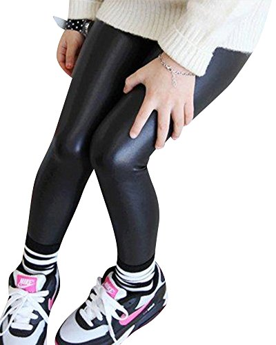 Niña En Mallas Leggings PU Cuero Artificial Elástico Pantalones Plus Espesamiento Leggins Negro 120