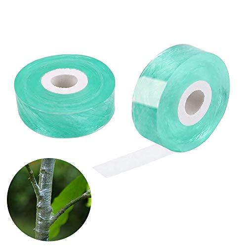 xutong 2 Piezas Cinta de Injerto, Cinta de Cultivo de Plantas de Jardín, Cinta de Injerto para Vivero Transparente, Estirable, Biodegradable, 2 cm * 100 m (Verde Claro)